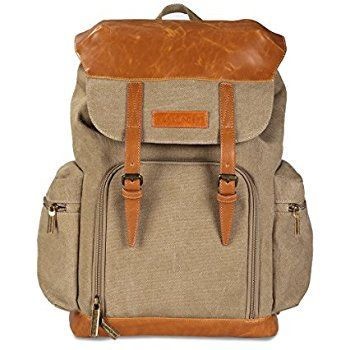 K&F Concept Khaki Canvas Multifunctional Backpack Waterproof SLR DSLR Camera Bag Rucksack for Canon Nikon Sony Fujifilm Panasonic Pentax Samsung Olympus DSLR Cameras