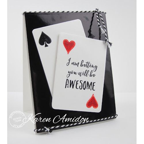 Serendipity Stamps Playing Card and Suits Dies and Playing Card Sentiment Cling Stamp set