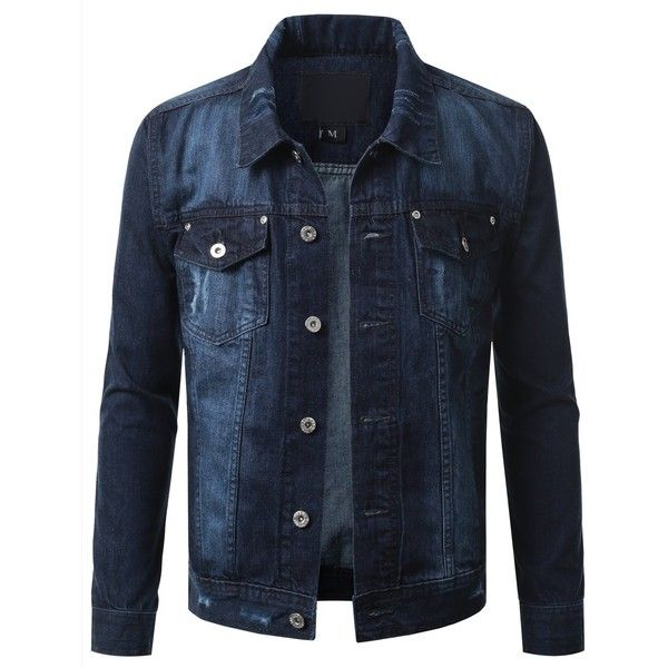 URBANCREWS Mens Hipster Hip Hop Button Down Long Sleeve Hooded Denim... ($57) ❤ liked on Polyvore featuring men's fashion, men's clothing, men's outerwear and men's jackets