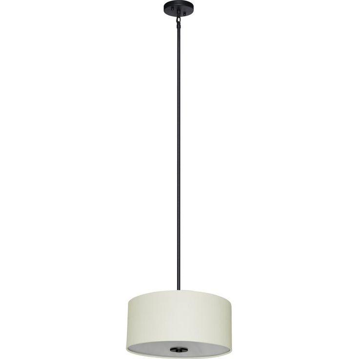 Illumine 3-Light Ebony Bronze Chandelier with Creme Brulee Weave Fabric Shade-SH1607-CBWEBZ - The Home Depot