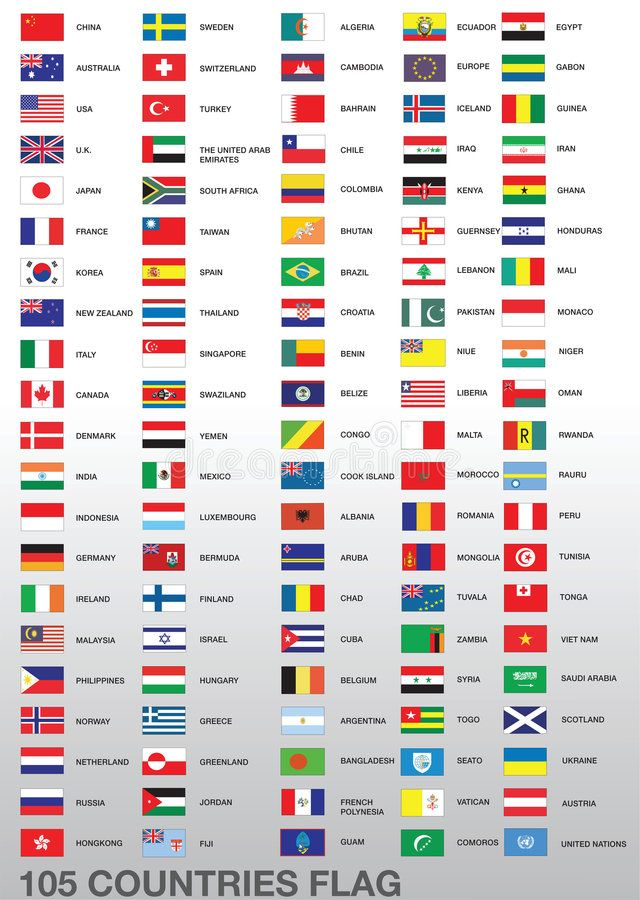 105 Country Flags A Set Of Flags Of 105 Different Countries