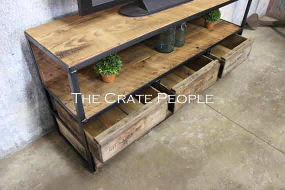 6 Drawer TV Console | Vintage Wood Crates & Reclaimed Barn Wood | Custom Furniture $1,275 + $199 Freight Shipping  FREIGHT SHIPPING : this item ships assembled and fully crated for protection. Shipping time will be approximately 3-8 business days once it leaves our warehouse. The carrier will call you to schedule a delivery appointment. We suggest having 2-3 extra helping hands available for delivery since the item will not be brought inside by the freight carrier…