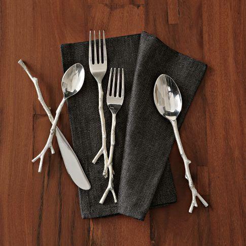 Decor/Accessories - Twig Flatware 5-pc. Set - Silver | west elm - twig cutlery, twig flatware, branch cutlery, branch flatware,