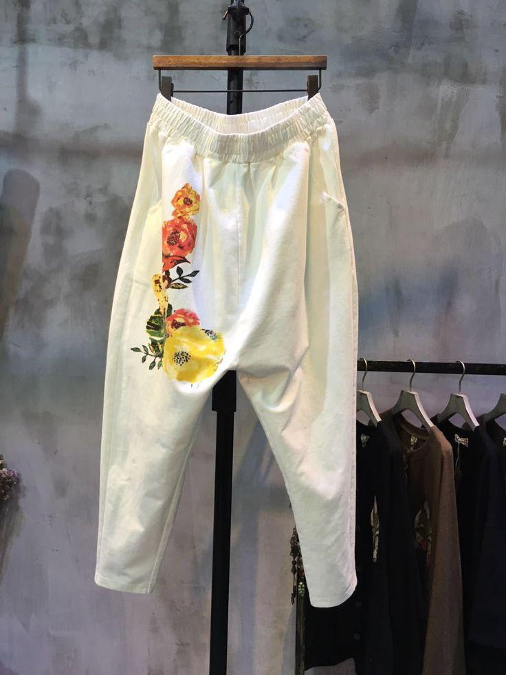 Elastic Waist Flower Print Pants Womans Cotton Cheap Pants  #pants #flowers #print #white #cheap #trousers #casual #cotton #cheap #wholesale #retail