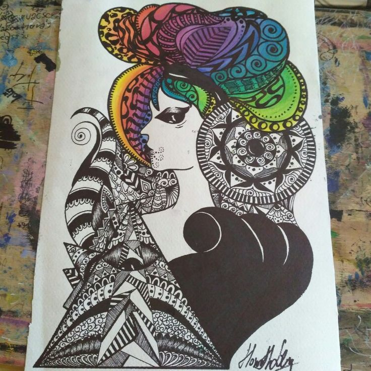 illuminati - colorful hair - zentangle art - psychedelic art - illuminati - mandala