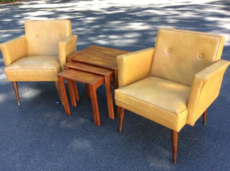 Items Similar To SOLD Two Mid Century Modern Side Chairs   Yellow Side  Chairs   Fingerhut Mid Century Vintage Yellow Vinyl Chair  Eames Chairs On  Etsy
