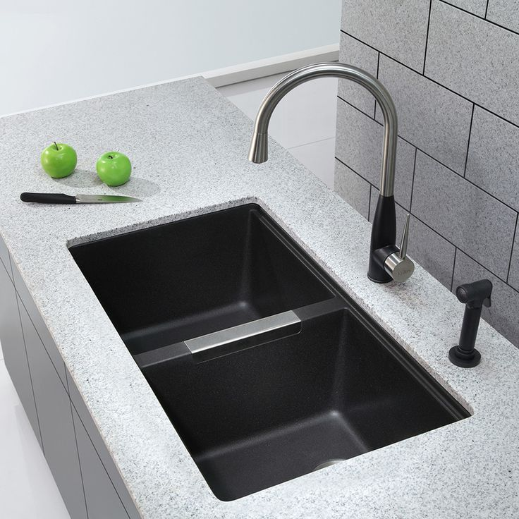 Shop Kraus 18.94-in x 32.44-in Black Onyx Double-Basin Granite Undermount Residential Kitchen Sink at Lowes.com