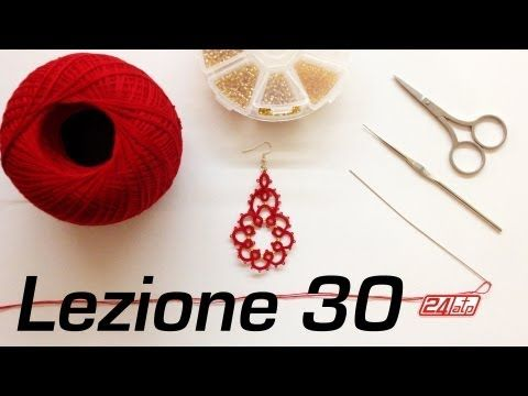 ▶ Chiacchierino Ad Ago - 30˚ Lezione Orecchino Con Perline Bijoux Tutorial Needle Tatting Stitch Count - YouTube