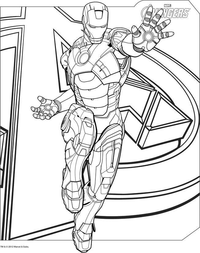 coloriage iron man lance son laser avengers