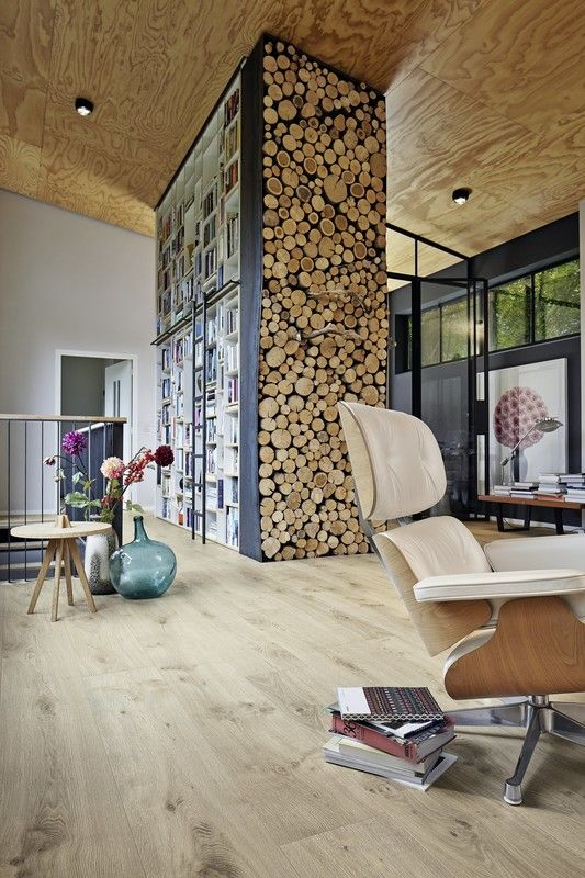 Laminat | Melango LD 300 | 25 | Eiche Atacama | 6380 | Holznachbildung — MEISTER Laminate flooring | Melango | Atacama oak | 6380 | Wood effect – Arbeiten Bücherwand Kaminholz MEISTER