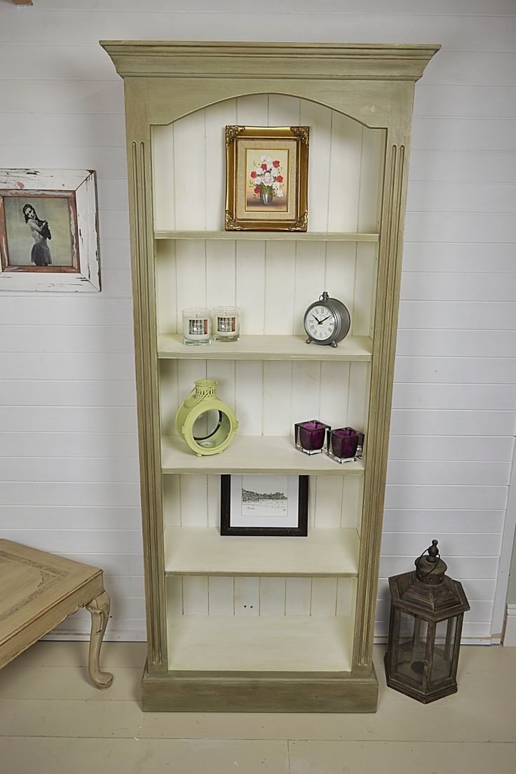 This slimline bookcase has elegant lines and plenty of storage space.  We've painted the inside in Old White with the outside in an Olive & Old Ochre mix, creating a stunning period finish.