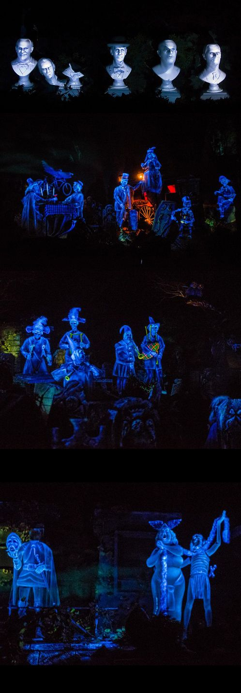 The Haunted Mansion has TWO graveyards, one outside and one inside. After the attic scene, the doombuggies enter the graveyard sequence, complete with graves, ghosts and singing busts.