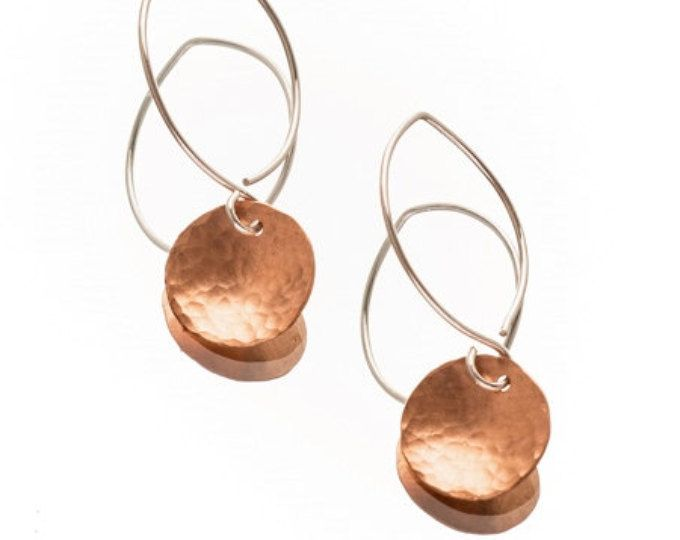 Pennie~Hand Forged Copper Earrings (C)