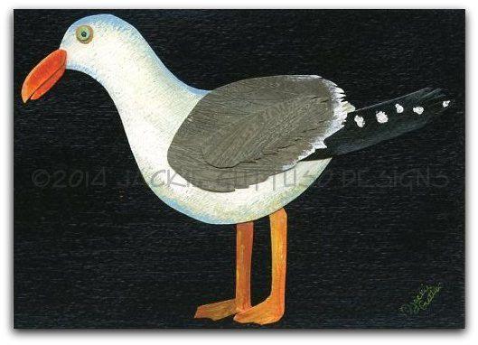 "Seagull art, 5 x 7"" Giclee print, Sea gull, Seagull painting print, Bird art, Animal collage, Ocean kids room art, Beach art, Animal art"