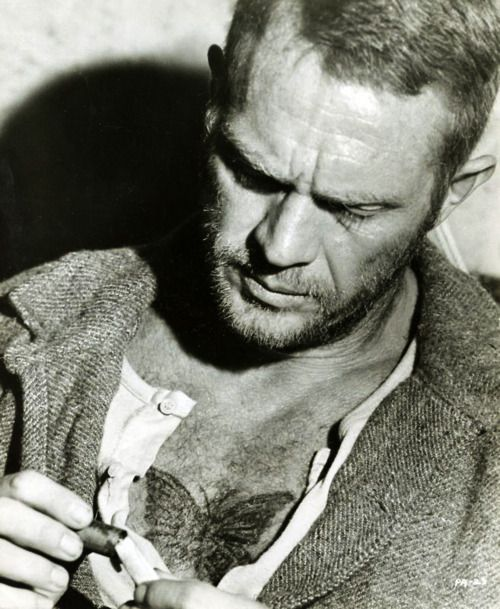 PAPILLON. Steve McQueen at his finest, forreal. Plus, Dustin Hoffman, and a script by Trumbo. If you haven't seen it yet, get to it!