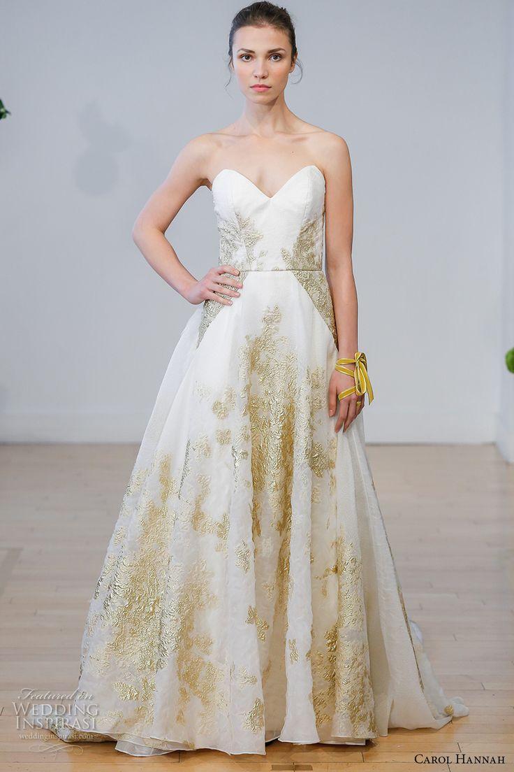carol hannah 2017 bridal strapless sweetheart neckline full embellishment gold embroidery accents princess a  line wedding dress chapel train (centaurea) mv