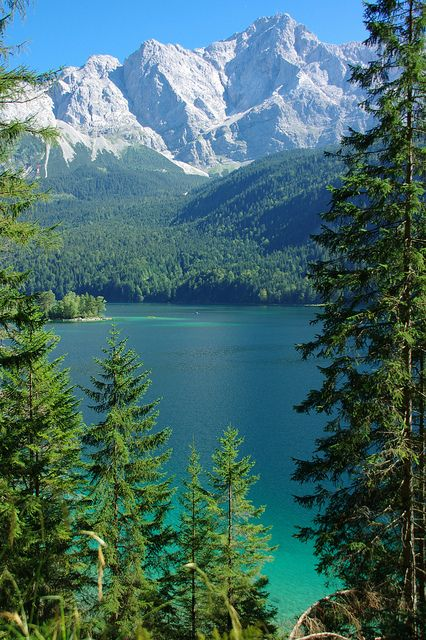Lake Eibsee at the foot of Zugspitze, Bavaria, Germany