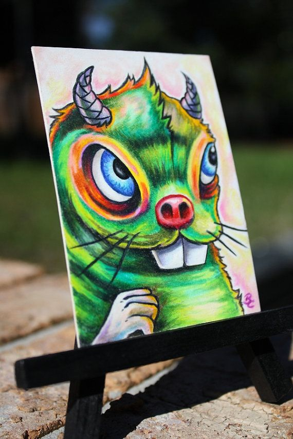 Micro Mystery Monster 012 original ACEO ATC pencil by bryancollins, $45.00