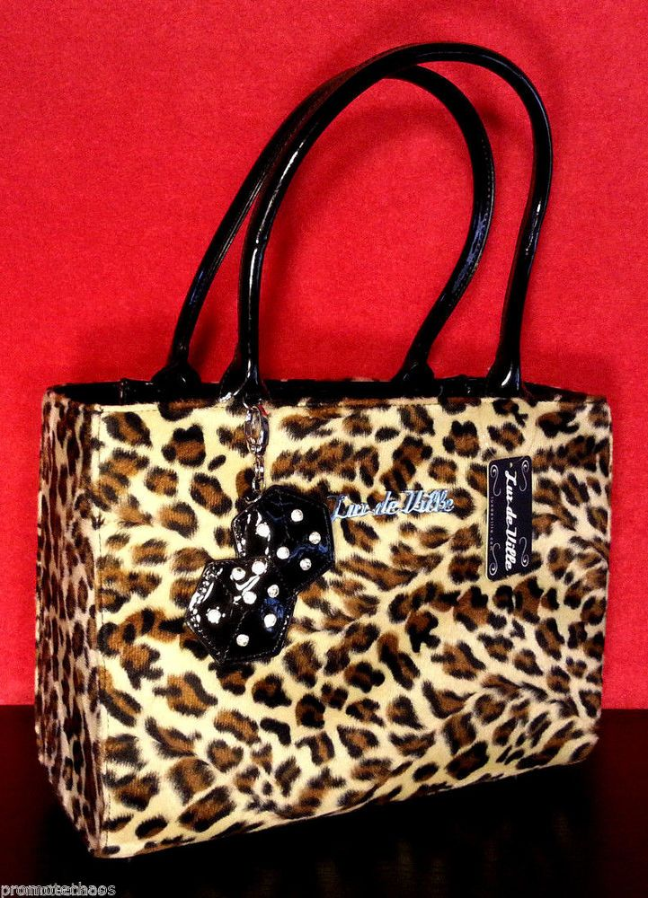 LUX DE VILLE LUCKY ME TOTE Handbag Purse Pinup Leopard Print Black Retro Shopper ***FREE U.S. SHIPPING*** #LuxDeVille #Handbag #Shopper #SmallTote #Purse #Bag #Pinup #Retro #LeopardPrint #LuckyDice #FancyDiaperBag #Rockabilly #Psychobilly #PunkRock #1950'sStyle