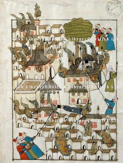 The great fire which destroyed Constantinople in 1660, miniature from Turkish Memories,Cicogna Codex, Turkey 17th Century