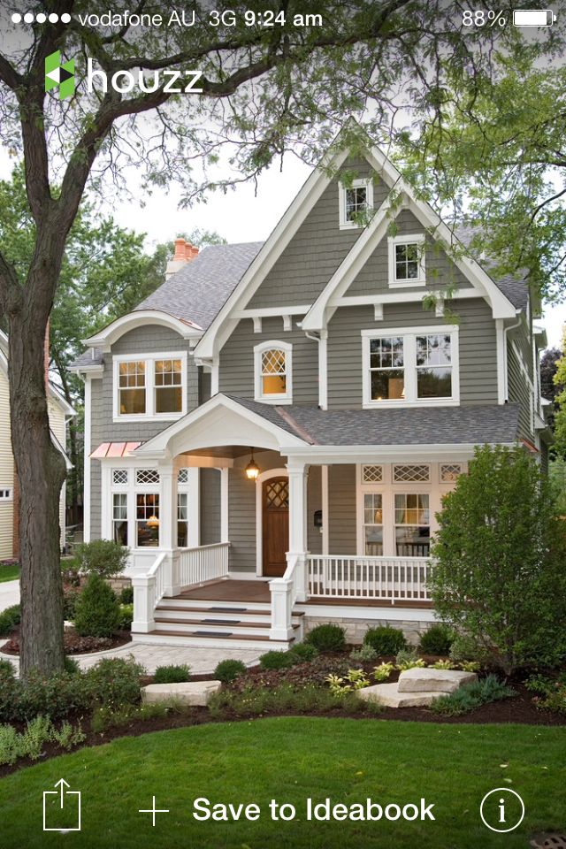 Hamptons style house - love the grey and white colour scheme