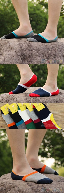 Hot 10 Pairs Men's Contrast Color Wide Stripe Loafer Boat No Show Low Cut Socks 1KKD