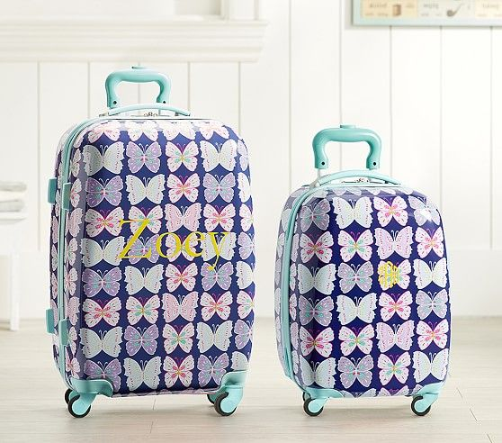 Mackenzie Navy Aqua Preppy Butterflies Hard Sided Luggage