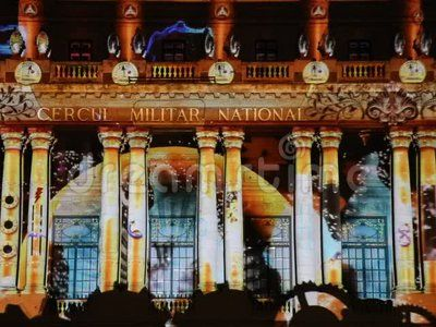 Bucharest, Romania, festival of lights on Calea Victoriei Avenue, projection on the facade of building of the national military circle.