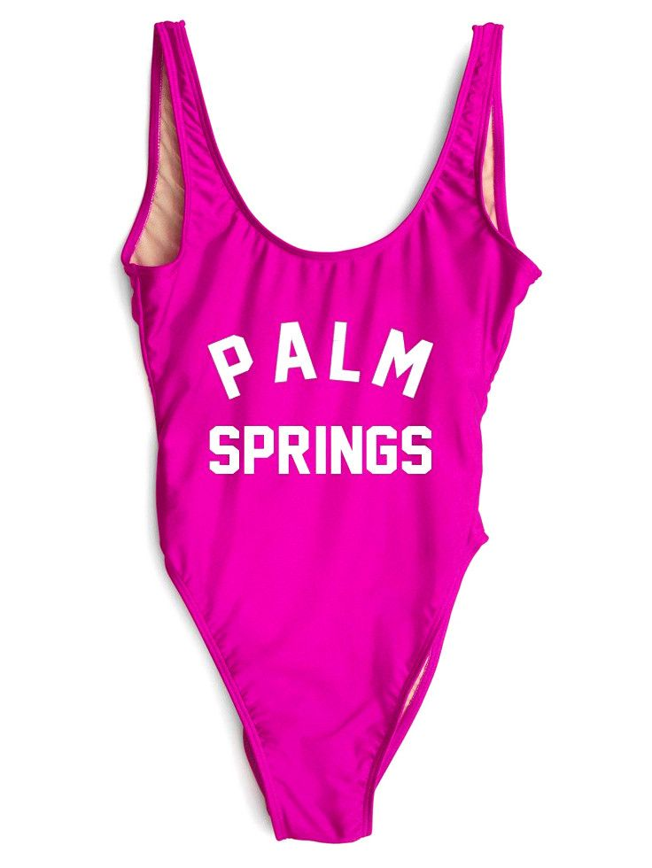 PALM SPRINGS One-Piece Slogan Swimsuit