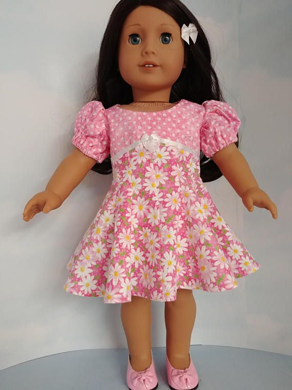 Pink Daisy Dress 18 inch doll clothes
