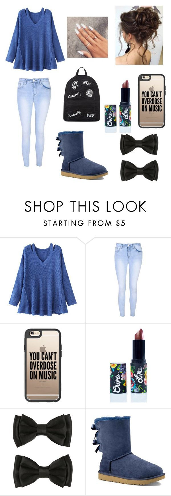 """""""💙🍂💙"""" by nevaehtillmn ❤ liked on Polyvore featuring WithChic, Glamorous, Casetify, Lime Crime, UGG Australia and Mini Cream"""