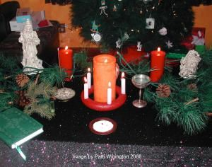 How to Decorate Your Yule Altar for the Winter Solstice: Decorate your Yule altar with symbols of the season -- candles, suns, evergreen boughs, and even Santa Claus!