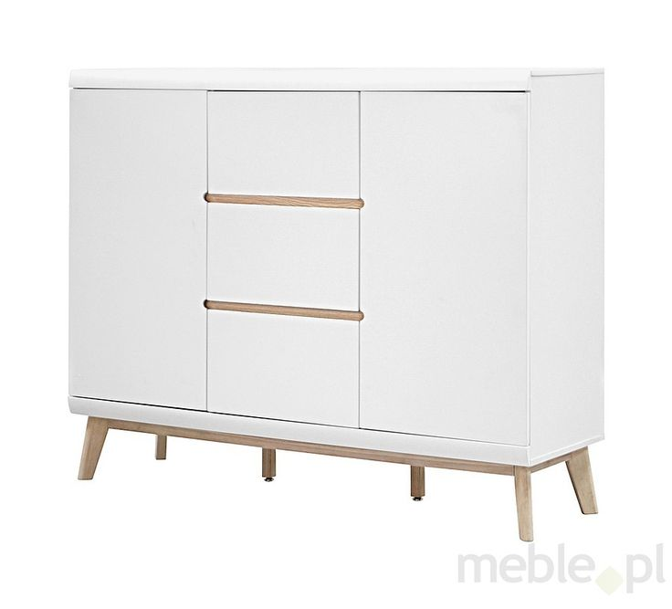 Komoda Jazz2 42x145 cm, biała matowa, dębowa, 91757-2