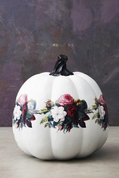 Floral Gourd: Pretty up your squash with a bunch of bouquets. Just adhere flash tattoos the same way as you would to skin. Click through for more easy craft ideas for Halloween!