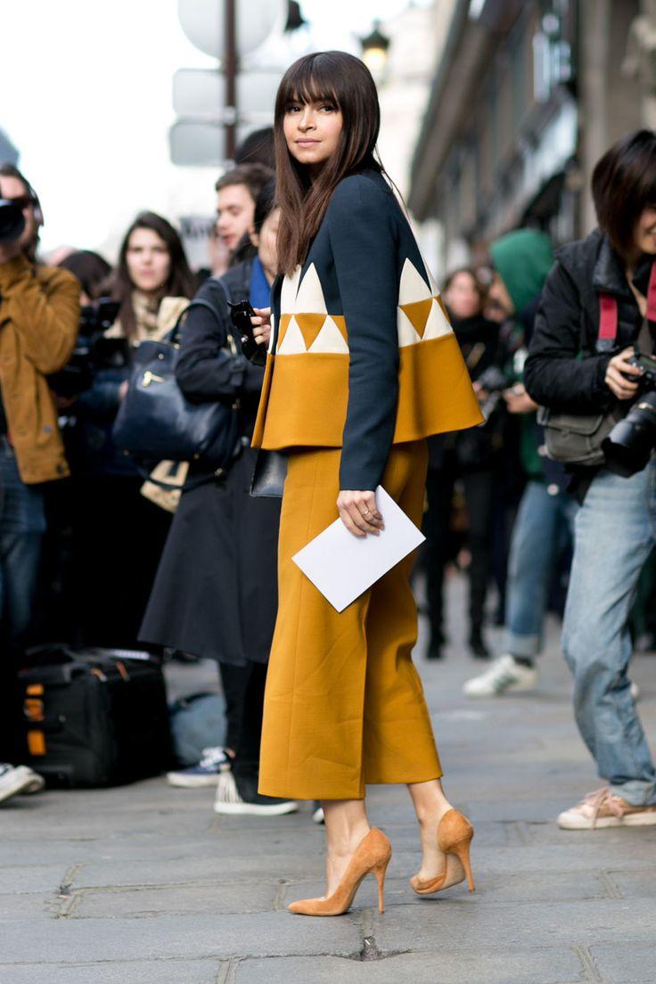 Mira's voluminous Delpozo top and matching trousers. Paris #MiroslavaDuma