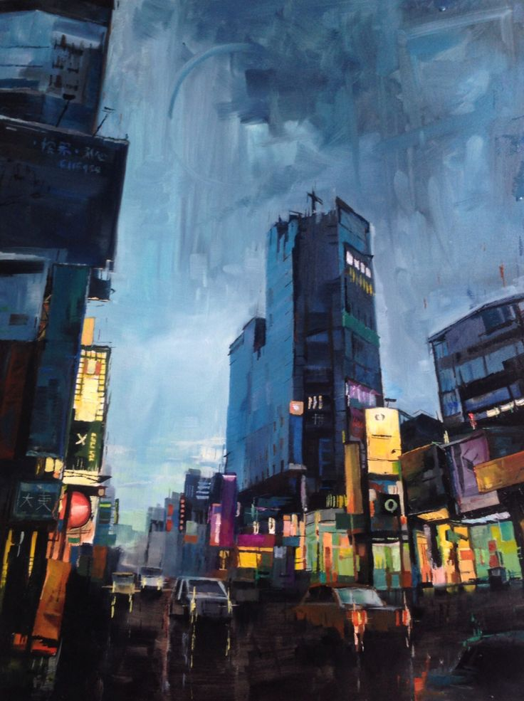 Oil painting of a Tainan nightscene, a gift for my mom