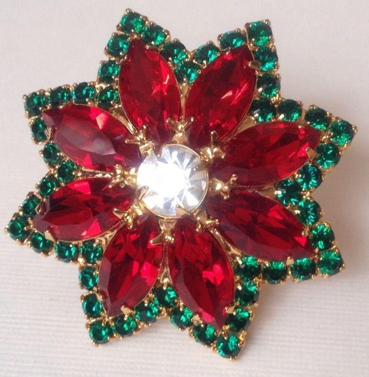 Vintage Rare Style Christmas Poinsettia Red Rhinestone Signed Eisenberg Ice Brooch.