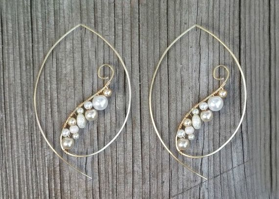 Pearl Earrings, Gold Wire Wrap Hoop Earrings, Edgy Pearl Hoop Earrings, Feminine Pearl Chandelier Earrings on Etsy, $22.00