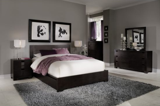A beautiful bedroom I love the purple accents on the bed with grey.