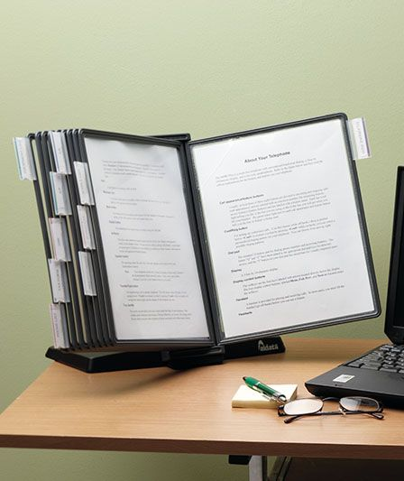 Desktop Reference Organizer -  When I was an Admin. Asst.  THESE organizers RULED!!!  From: http://www.ltdcommodities.com/For-the-Home/Home-Office/Office%2BEssentials/Desktop-Reference-Organizer/prod30383.jmp;jsessionid=A09FC3541FF5617F38EAAFA7BF8C43EA?navAction=push&fm=topnav&categoryId=cat51851&navCount=0