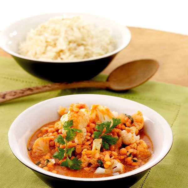 Bloemkoolcurry met rode linzen #WeightWatchers #WWrecept #vega