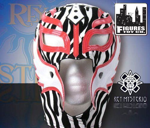 Rey Mysterio Kid Size Replica Zebra Half Mask by WWE. $50.00. WWE SUPERSTAR REY MYSTERIO KIDS SIZE PRO-GRADE MASK   WWE Rey Mysterio KIDS Size Replica Mask   Officially licensed by WWE   Made directly from Rey Mysterio's own mask   Fits most kids ages 8 & up   Simulated Leather. Save 29%!