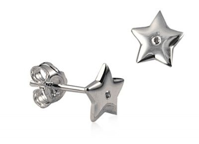 Earrings - DIAMOND TWINKLE STAR - Sterling Silver