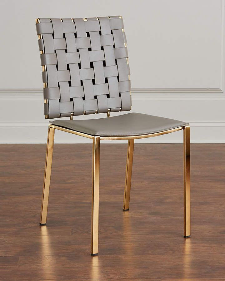 Surprising Interlude Home Kennedy Woven Leather Dining Chair Leather Theyellowbook Wood Chair Design Ideas Theyellowbookinfo