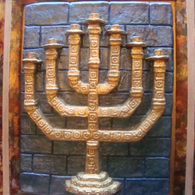 Menorá, candelabro judío..ARTELIE. cl. ..artesanías de ciudad. ..