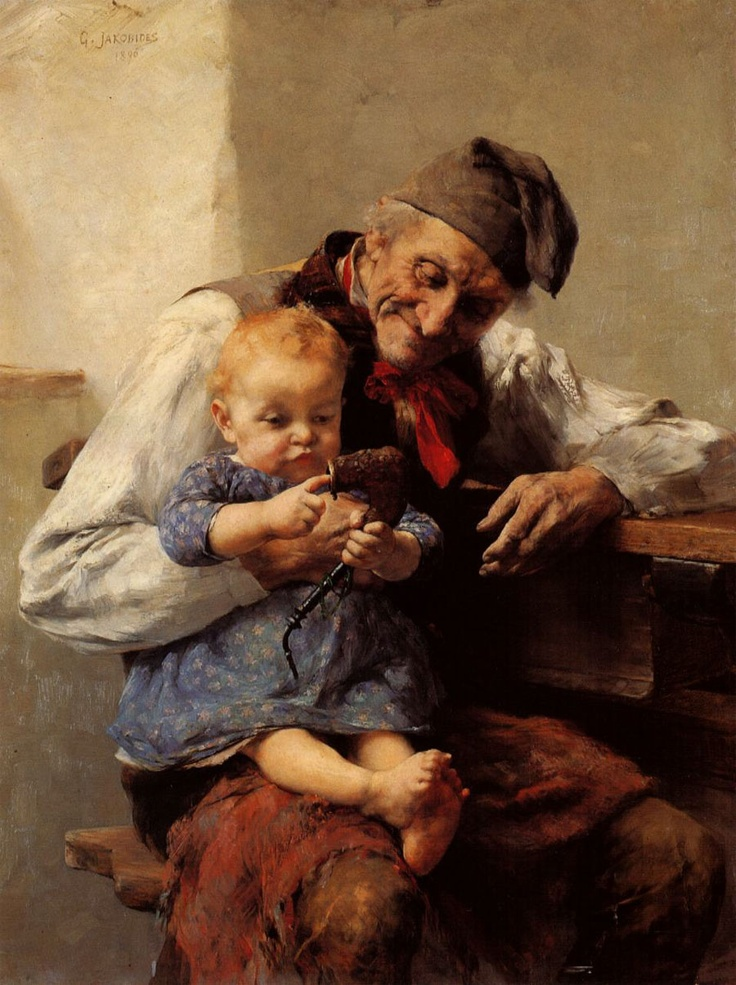 Grandpas Favourite by Georgios Jakobides (Γεώργιος Ιακωβίδης, Lesbos 11 January 1853 - Athens 13 December 1932) was a Greek painter and one of the main representatives of the Greek artistic movement of the Munich School. He founded and was the first curator of the National Gallery of Greece in Athens.
