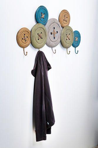 Vintage Button Iron Coat Rack Wall Decor With 5 Coat Hooks Multi Coloured 76894 | eBay