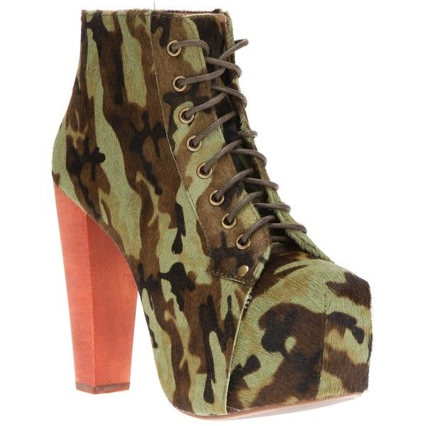 JEFFREY CAMPBELL camouflage ankle boot ($160) ❤ liked on Polyvore featuring shoes, boots, ankle booties, high heels, jeffrey campbell, saltos, green ankle boots, high heel boots, block heel booties and platform booties