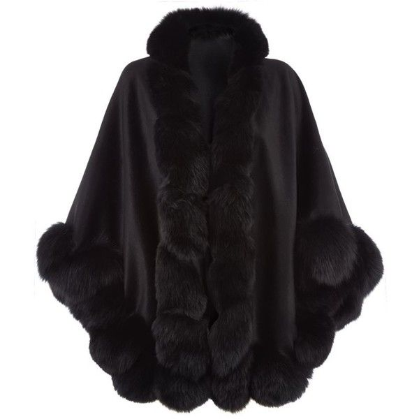 Harrods of London Fox Fur Spiral Trim Cape ($1,890) ❤ liked on Polyvore featuring outerwear, black cape, fur trimmed cape, cape coat and black cape coat