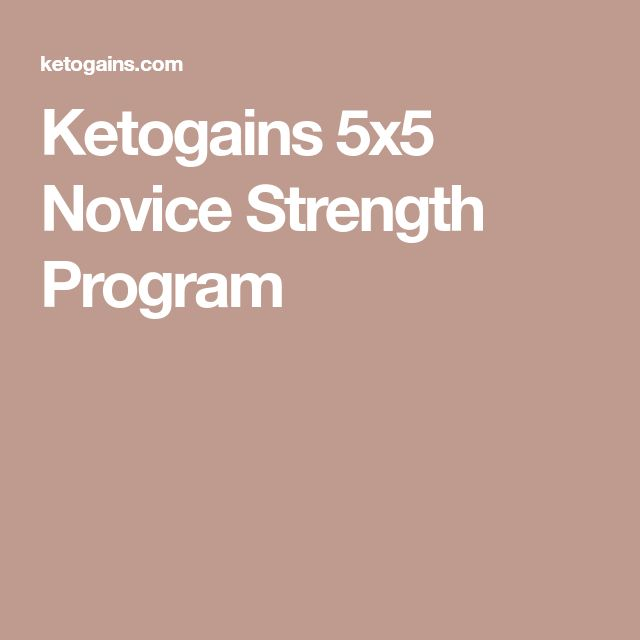 Ketogains 5x5 Novice Strength Program